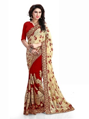 cream embroidered brasso saree with blouse