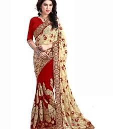 Buy cream embroidered brasso saree with blouse brasso-saree online