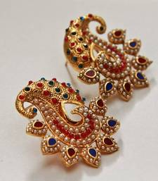 Buy Paisely Halfmoon Studded Earrings -  Pink & Navy Blue danglers-drop online