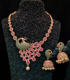 Buy Georgeous high gold plated ruby and embroled peacock necklace set necklace-set online