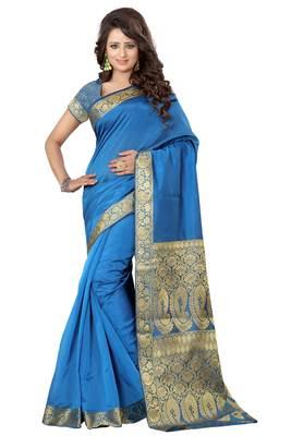 Turquoise printed banarasi silk saree with blouse