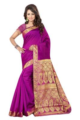 Rani pink printed banarasi silk saree with blouse
