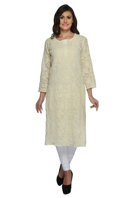 Ada Lemon Hand embroidered georgette Chikan ethnic-kurtis
