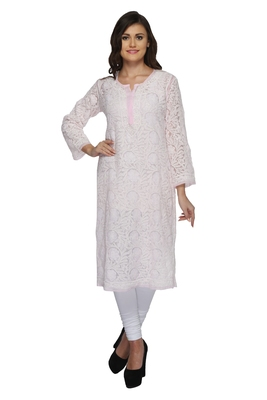 Ada light pink Hand embroidered georgette Chikankari kurtis