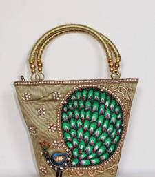 Buy Peacock Design Embroidery Handbag in Light Mehndi Green clutch
