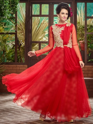 Red embroidered soft net semi stitched party wear gown
