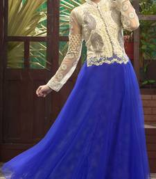 Off white and blue embroidered soft net semi stitched party wear gown