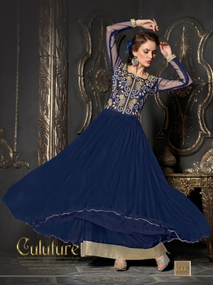 Blue embroidered net semi stitched party wear gown