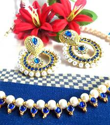 Dark Blue Pearl Polki Earring and Necklace shop online