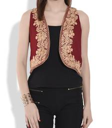 Buy Maroon and beige kashmiri embroidery georgette and silk shrug ethnic-jacket online