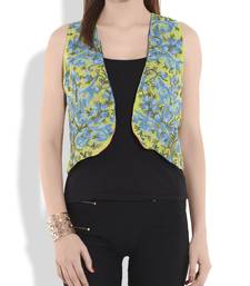 Buy Green and blue kashmiri embroidery silk and crepe reversible shrug ethnic-jacket online