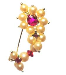 Buy Nath BIG for pierced nose Maharashtrian traditional Nose ring of Pearl beads gifts-for-girlfriend online