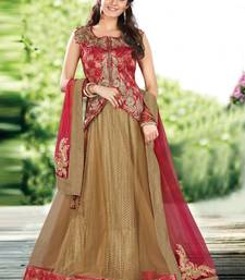 Buy Dark beige embroidered net unstitched lehenga eid-lehenga online