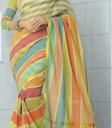 Buy Multicolor woven cotton saree with blouse handloom-saree online