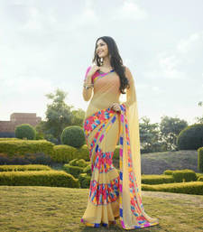 Buy Beige printed georgette saree with blouse georgette-saree online