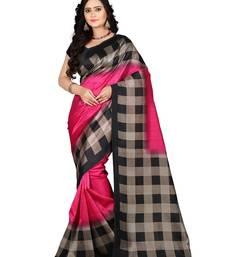 Buy Pink printed art silk saree with blouse art-silk-saree online