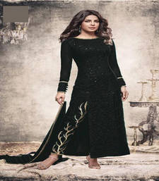 Buy Black sequins georgette semi stitched salwar with dupatta silk-georgette-salwar online