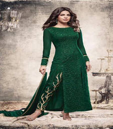 Buy Green sequins georgette semi stitched salwar with dupatta silk-georgette-salwar online