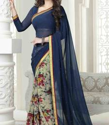 Buy Blue printed chiffon saree with blouse