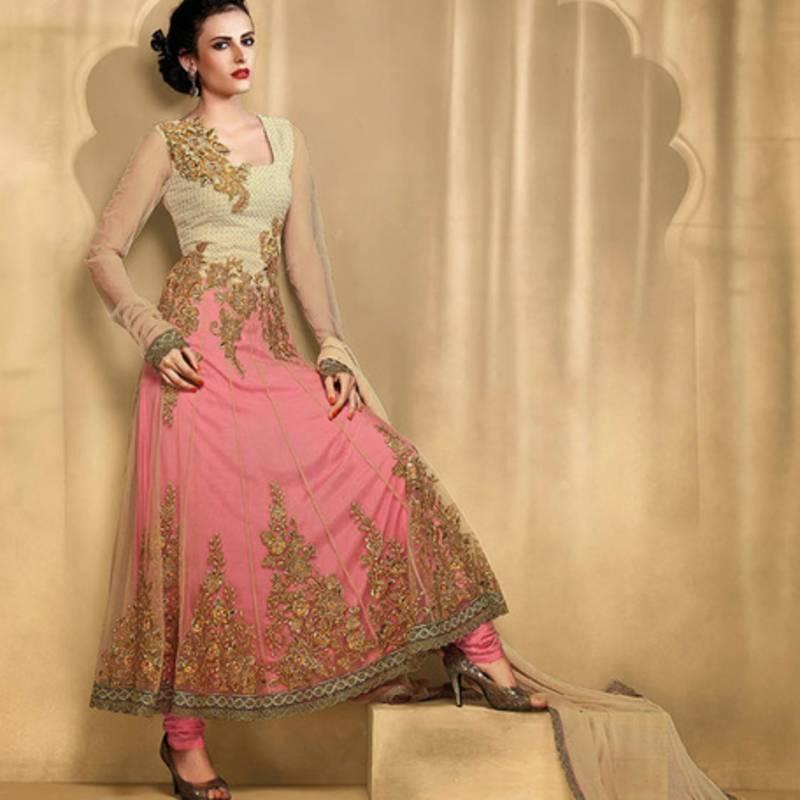 Buy Beige And Pink Anarkali Suit Online