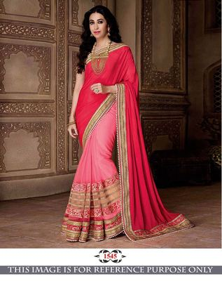 bc10917a1ec353 Multicolor embroidered georgette saree with blouse - Shree Sai Trading -  1776687