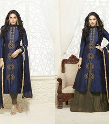 Buy Blue embroidered cotton semi stitched salwar with dupatta semi-stitched-salwar-suit online