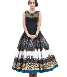 Buy Multicolor printed art silk semi stitched party wear gowns