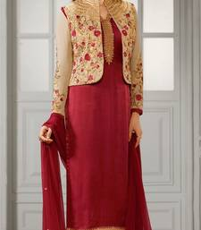 Buy Maroon embroidered crepe semi stitched salwar with dupatta semi-stitched-salwar-suit online