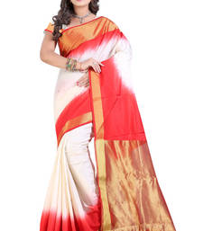 Buy White printed pure banarasi silk saree with blouse banarasi-saree online