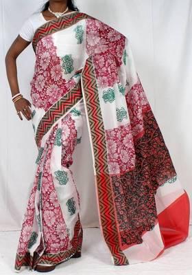 Dupion fancy Aanchal border printed saree