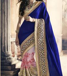 Buy Blue embroidered chiffon saree with blouse bridal-saree online