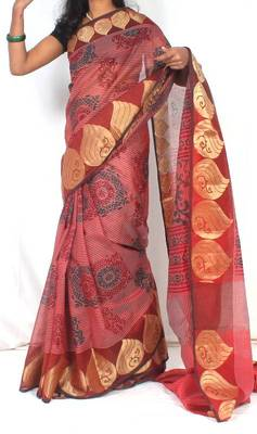 Supernet fancy zari border printed saree