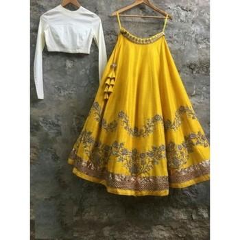 Yellow embroidered banglori lehenga with choli