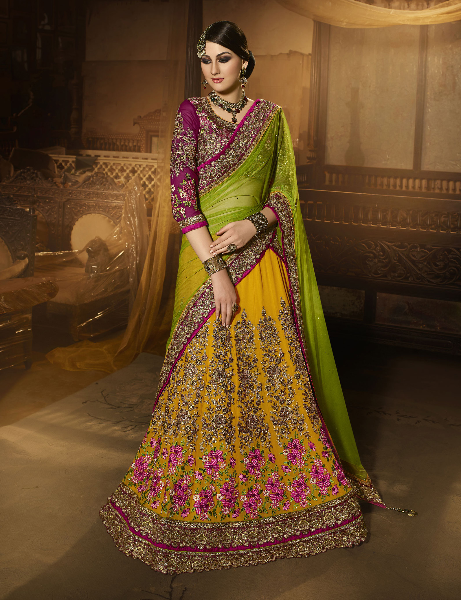 35f131816d Yellow embroidered georgette lehenga with dupatta - Real Saree - 1779618