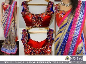 2673d02b980107 Multicolor embroidered georgette saree with blouse - Shree Sai ...