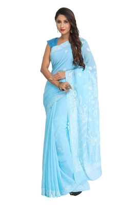 Blue Embroidered Faux Georgette Saree With Blouse