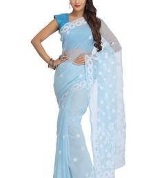 Buy Blue embroidered faux georgette saree with blouse chikankari-sari online