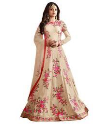 Beige embroidered bangalore silk unstitched salwar with dupatta