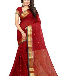 Buy Red printed cotton saree with blouse kanchipuram-silk-saree online