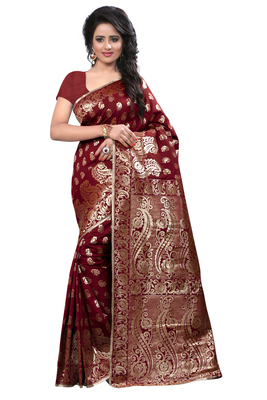 Maroon printed banarasi cotton saree with blouse