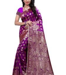 Buy Purple printed banarasi cotton saree with blouse kanchipuram-silk-saree online