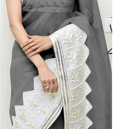 Buy Grey embroidered georgette saree with blouse georgette-saree online