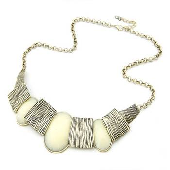 White Oval Block Neckpiece(CFN0141)