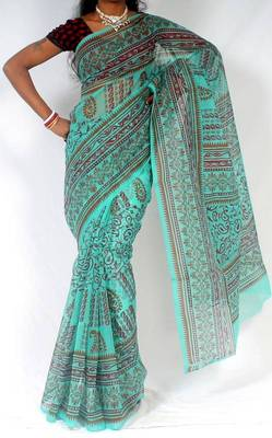 Moonga Check Banarasi Fancy printed saree
