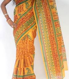 Buy Moonga Check Banarasi Fancy printed saree cotton-saree online