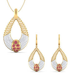 Buy 18 Kt Yellow Gold Plated Sterling Silver Women Wedding Ruby & White Studded Traditional Pendant & Earring Set gemstone-pendant online