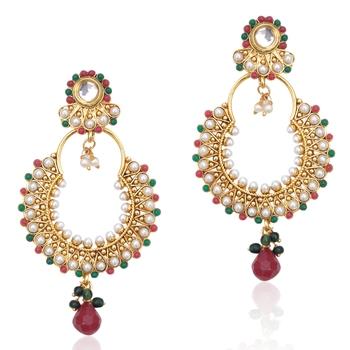 Kundan red green pearl bali earring,Ethnic Indian Bollywood Women Jewelry c467mg