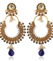 Buy Kundan deep blue pearl bali hoop earring,Ethnic Indian Bollywood Jewelry c467b hoop online