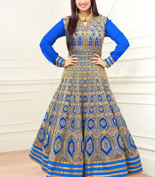 Light blue embroidered georgette semi stitched salwar with dupatta