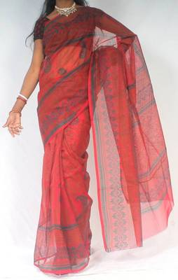 Moonga Check Banarasi Fancy printed saree